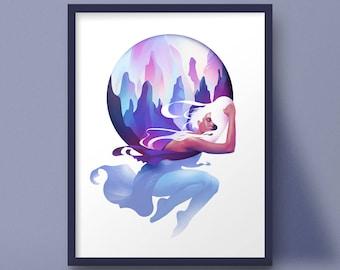 Art Print, digital painting, levitating resting woman, landscape, surreal