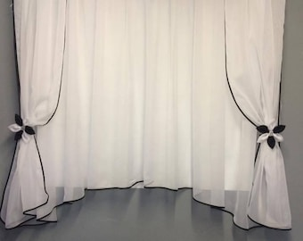 White Voile Net Curtain with Flowers Ready Made