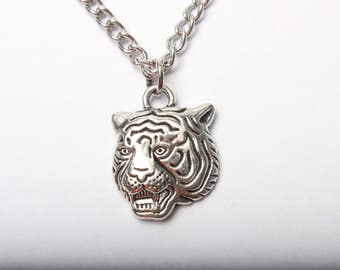 Antique Silver Tiger Head Necklace, Tiger Pendant, Silver Tiger Jewelry, Men's Necklace Jewelry