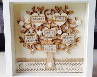 Family tree frame, wooden family tree, personalised tree box frame, grandchildren frame, gift for mum, birthday gift for mum, family gift