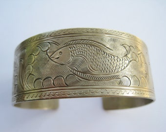 Hmong Bracelet with Fish Motif, Ethnic Cuff, Tribal Jewelry