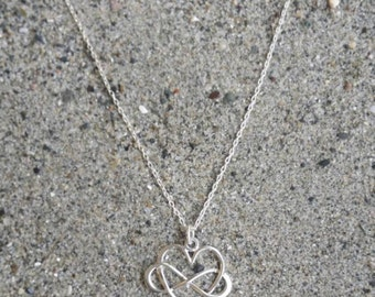 Tiny Infinity Wrapped Heart Necklace, Sterling Silver, Infinity Necklace, Heart Necklace