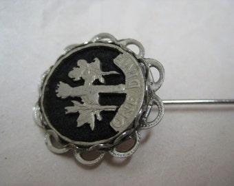 Dime Black Silver Stick Pin Vintage