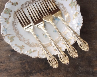 H.F. Ltd. Pierced Rose Gold Salad Forks Set of 4 Matching Forks Gold Electroplate Stainless Hanford Forge Wedding Decor