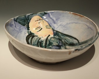 Dreamer Bowl, Relief Sculpture of a Womans Face, Majolica Painting Pottery Vessel Art Object Serving Centerpiece