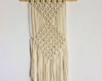 Cream Triangle Design Macrame Wall Hanging // Tapestry