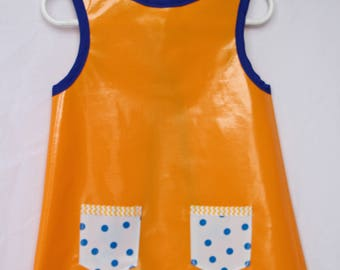 Child's Art Smock in Yellow with Blue Polka Dots