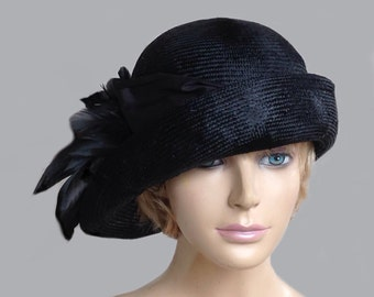 "Kentucky Derby Hat,  ""Gabby"" 1920's Flapper Cloche. womens parasisal straw hat in black with feathers, millinery hat"