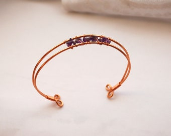 Copper and Amethyst Bracelet/Bangle Wire Wrapped