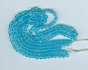 Vintage Czechoslovakian 4 mm Aqua Faceted Glass Beads 100 in Lot