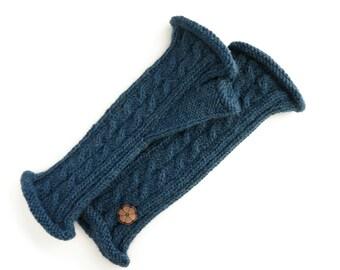 Mitaines torsadées bleu marine, 100% alpaga de teinte naturelle, faites à la main