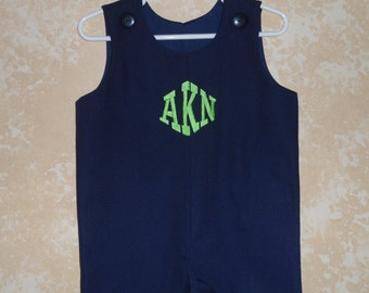 Boy's Jon Jon Romper Navy Linen Sizes  6 mo. and 4T Personalized Monogram Included