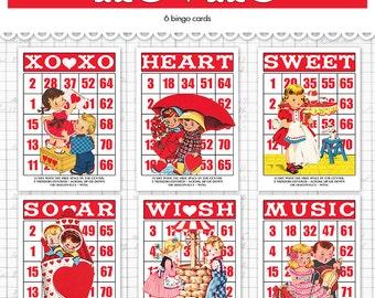 "Digital Valentine bingo  / retro children ephemera cards / vintage Valentine / 5"" by 7"" and 3.5"" by 5"" / downloadable / printable"