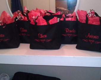 13 Personalized Tote Bag Monogram Bridesmaid Gift Wedding Teacher FRIEND SHOWER Personalized Embroidered