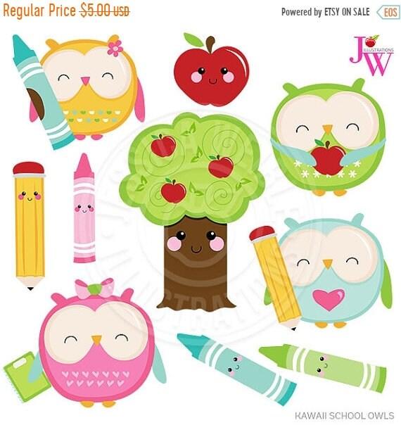 sale kawaii school owls cute digital clipart cute owl clipart owl rh etsystudio com digital clipart for teachers Teacher Clip Art Black and White