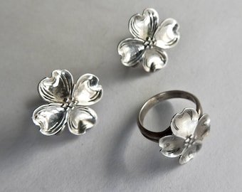 Sterling Dogwood Ring and Earrings
