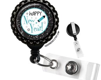 Happy New Year Retractable Black Badge Reel ID Tag Holder by Geek Badges