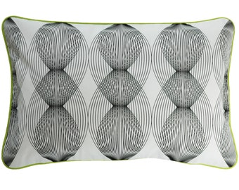 Pillow cover graphic lines, white/black, 60 x 40 cm (without filling)
