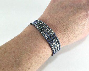 Rhinestone Bracelet, Rockabilly, Channel Bracelet, Bridal Jewelry, Wedding Jewelry, Something Blue, Prom Jewelry, Ice Blue, Vintage Jewellry