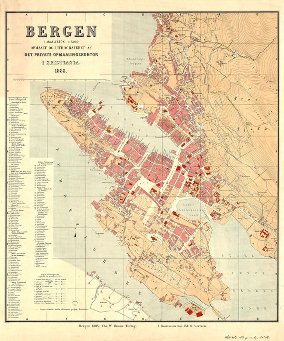 Map of Bergen 1885 Vintage Bergen map 4 sizes up to