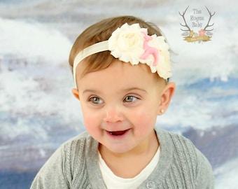 Little Pink Deer Headband - Cream Elastic Chiffon with Pink Fawn - Newborn Infant Baby Toddler Girls
