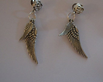 Double Wing Earrings, Ear Wire or Rose Post, Mother & Child Silver Angel Wings, Bird Wings, by Brendas Beading on Etsy