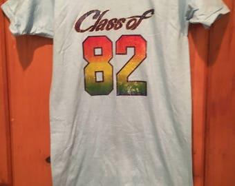 Class of 82 Vintage 1980s Baby Blue and Rainbow Glitter Graphic Iron On T-Shirt
