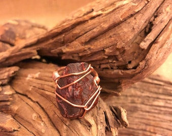 Red Jasper & Copper Statement Ring