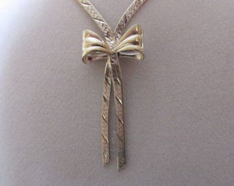 Vintage Pendant, Sterling Silver Chain, Ribbon, Hallmarked Italy 925, Collectible Jewelry