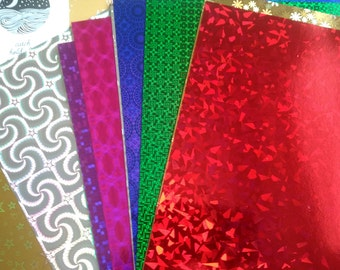 A4 Holographic cardboard, 10 sheets holographic paper, card paper, card making, scrapbooking, craft, diy, cardboard, card, holographic
