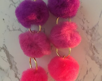 Pink Ombre Pom Pom Earrings with Gold Hoops
