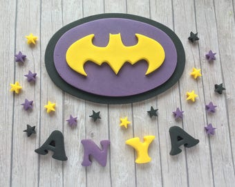 Large Edible fondant sugar personalised Black,yellow and purple Bat girl logo cake topper set - DC Supergirl party