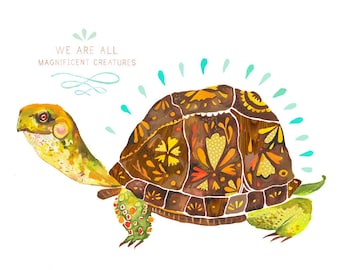 Magnificent Creature Box Turtle Art Print | Watercolor Painting | Nursery Decor | Animal Wall Art | Katie Daisy | 8x10 | 11x14