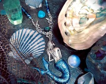 Blue Mermaid Necklace, abalone shells, mermaid jewelry, fantasy jewelry, fairy jewelry, beach necklace, beach jewelry, nautical jewelry