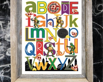 TMNT ABC cartoon character Nursery Art Print