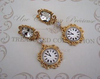 Earrings Baroque clock