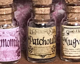 "Jar of PATCHOULI  for a dollhouse, witch's herbs and poisons, dollhouse size, in a glass jar 1:12 1/12 1"", under 1"" tall, (simulated)"