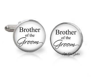 Brother of the Groom Wedding Cuff Links - Best Man Groomsmen Cufflinks in Stainless or Sterling Silver Option