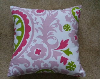 CLEARANCE  Candy Pink Suzani Pillow Cover, Chartreuse/Pink Suzani Pillow Cover, 18''x18''