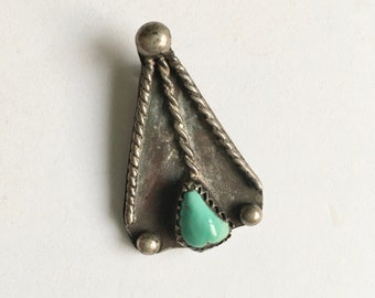 vintage triangle turquoise and sterling pendant