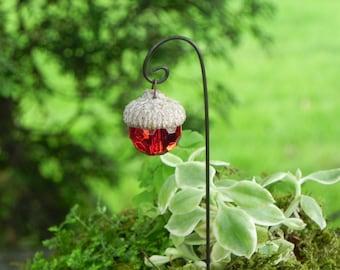 Fairy Garden Acorn Cap Lantern miniature accessories ruby red, included shepherds hook, handcrafted shepherds hook, supply accessory