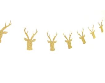 Gold Glitter Deer Garland - Holiday Decoration - Gold Christmas Garland, Deer Christmas Bunting, Festive Garland, Festive Banner