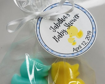 Baby Shower Favors - Rubber Duck Soaps Custom Made Favors for Baby Shower or Kids First Birthday Scented Soap Gifts | Pack of 10