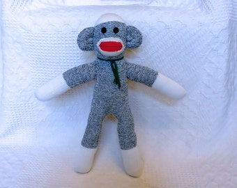 Sonny the Green Sock Monkey 19 inches by monSOCKeys, Handmade Red Heel Sock Monkey, Stuffed Monkey, Toy, Novelty Gift, Green Monkey, Doll