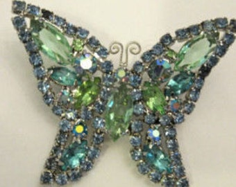 Vintage WEISS Rhinestone Butterfly Pin, Blue/Green, Silver Signed Look at the Pictures Just a Beautiful  Brooch