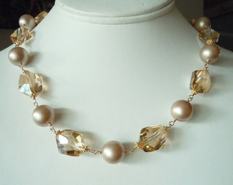 Full of Grace...Swarovski Pearl and Cosmic Crystal Necklace-Gold filled...FREE SHIPPING