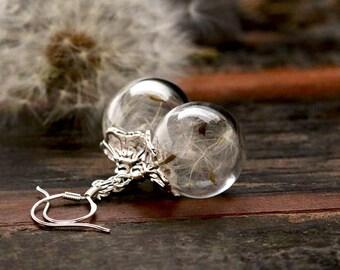 925 Silver Earrings with real dandelion - E249