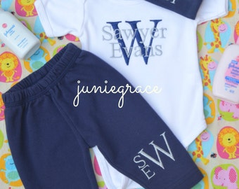 Baby Boy Coming Home Outfit Baby Boy Clothes Baby Boy Gift Newborn Baby Boy Outfit Monogrammed Baby Boy Outfit Baby Boy Hat