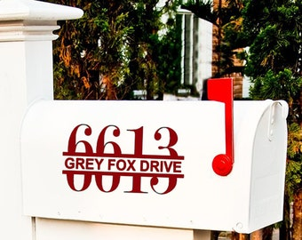 Modern Mailbox Decal Set Mail box Stickers Custom mailbox Decals personalize House Numbers House Door Decal