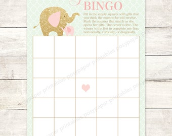wishes for baby shower printable elephants pink mint green gold glitter DIY baby girl gender neutral shower games - INSTANT DOWNLOAD